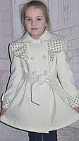 """Детская одежда . Пальто кашемировое """"Оборочка""""горох (молоко)"""