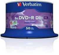 Диск verbatim dvd+r 8.5 Гб dl 8x cake 50 шт. (43758)