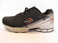 Кроссовки мужские BONA  кожаные, черные с серым (Бона)р.42