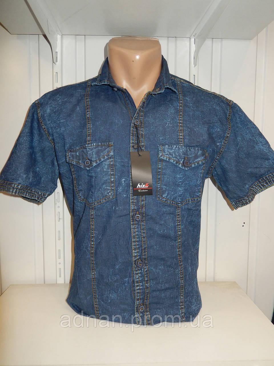 Сорочка чоловіча HIZZ короткий рукав, Джинсові, кишеня з клапаном 001\купити сорочку оптом, Одеса 7 км