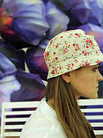 Льняная шляпа панама в цветочек unisex, фото 1