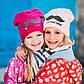 Шапка детская для девочки, трикотаж на флисе, фото 2