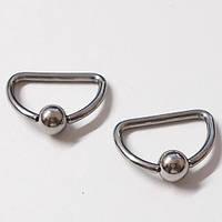 Сегментное полукольцо с шариком (для пирсинга сосков). Медицинская сталь.