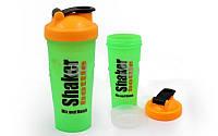 Шейкер с сеточкой для спортивного питания FI-4446-GO (TS1236) (пластик, 600мл, зеленый-оранжевый)