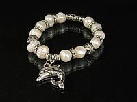 Браслет з річкових перлів,з підвіскою дельфінчик, фото 1