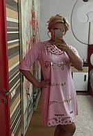 Платье трикотажное с отделкой перфорацией и золотой накаткой Батал! (НАТ) 03170