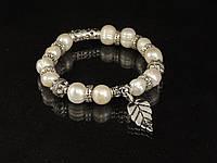 Браслет з річкових перлів,з підвіскою листочок, фото 1