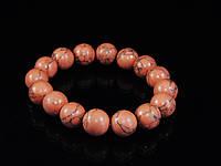 Браслет из оранжевой бирюзы на резинке,шар, фото 1