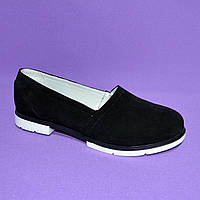 Женские замшевые черные туфли на утолщенной белой подошве
