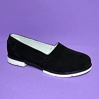 Женские замшевые черные туфли-балетки на утолщенной белой подошве