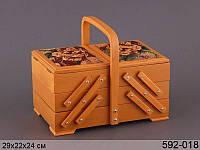 Шкатулка для рукоделия,деревянная 29х19х23 см 592-018