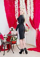 Платье до колена с гипюром черное