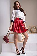 Стильная красная чёрная женская юбка Ольга до середины бедра красивая