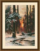 Набор для вышивания нитками Закат в зимнем лесу 0207