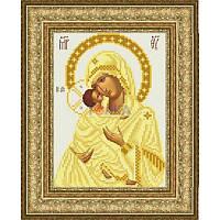 ТО-057 Венчальная икона Владимирская Божья Матерь 16х22. Барвиста вишиванка. Схема на ткани для вышиван