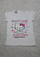 Качественная белая футболка для девочек 92,98,110 роста Кошечка с бантиком