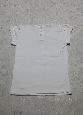 Качественная белая футболка A-YUGI для девочек 92,98,110 роста Кошечка с бантиком, фото 2