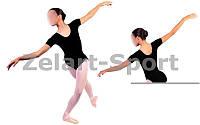Купальник (трико) гимнастич. Х-б корот. рукав черн UR DR-1053-СB детс (р-р RUS-32-42,рост 122-164см)