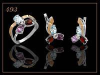 Комплект серебряный женский с золотом и полудрагоценными камнями