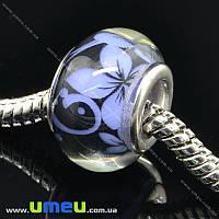 Бусина PANDORA пластиковая Цветы, 14х9 мм, Синяя, 1 шт (BUS-015306)