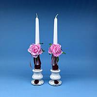 Свечи родительские с розовым цветком