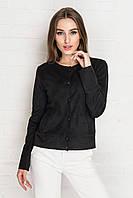 Черная замшевая женская куртка