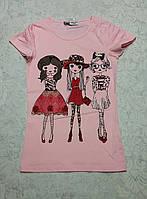 Красивая футболка для девочек 128,134,140,146 роста Гламур