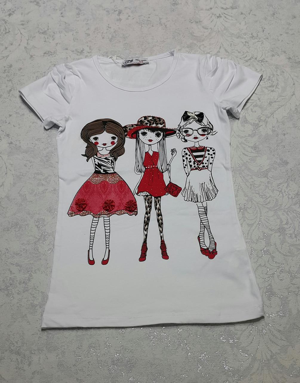 Белая футболка для девочек  Шопинг