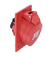 Силовая фланцевая розетка 16 А ампер IP44 3P+E четыре полюса 400В цена купить силовые промышленные разъемы