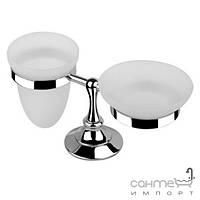 Аксессуары для ванной комнаты Bugnatese Держатель с мыльницей и стаканом стекло Bugnatese Tradizionale 24801 BR бронза