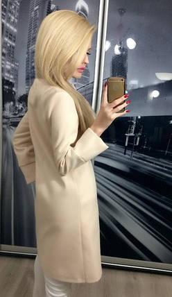 Пальто женское демисезонное кашемировое ft-235 бежевое, фото 2