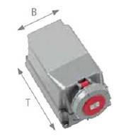 Силовая накладная розетка 63 А ампер IP67 3P+N+E пять полюсов 400В цена купить силовые промышленные разъемы