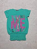 Модная футболка для девочек 122,128,134 роста МЕ-бирюза