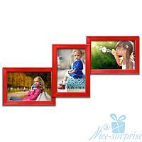 Мультирамка Волна на 3 фотографии 10х15, обычное стекло (красный)
