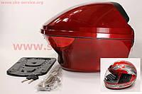 Кофр(средний) + Шлем с подбородком. Красный