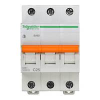 Автоматический выключатель ВА63 3P 25A C 11215 Домовой Schneider