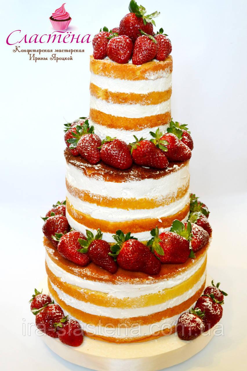 """Лучший свадебный  торт  """"Naked cake"""" с клубникой"""