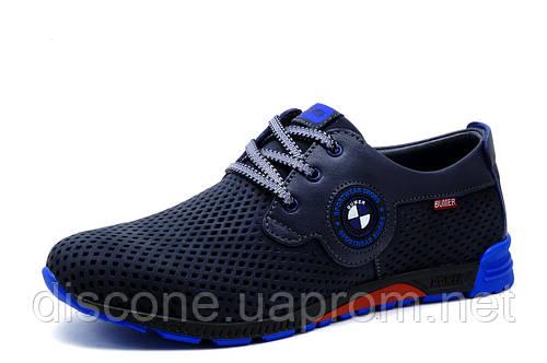 Туфли спортивные мужские Bumer кожа, перфорированные, синие, р. 40