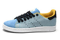 Женские кроссовки Adidas Stan Smith Original Blue (адидас стен смит) голубые