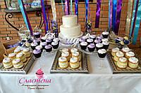 Свадебный Кенди бар (Candy Bar) в фиолетовом цвете
