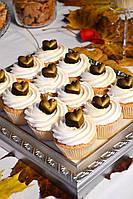 Капкейки  ванильные с шоколадным декором