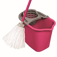 Набор для мытья МОП СЕТ 10л прямоуг.ведр NY SPRING, 350 x 1150 x 250 мм, розовый с серым York Y-072020