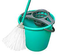 Набор для мытья MOP SET 10 л (с круглым ведром) NY, лазурный с серым York Y-072030