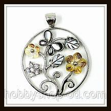 Кулон Метелик на квітці з натурального перламутру зі стразами