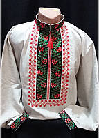 "Вышиванка мужская  ""Калиновая симфония"" серый лен ,  42-54 р-ры, 990/800 (цена за 1 шт. + 190 гр.)"