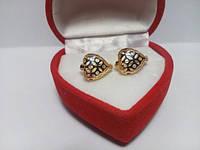 79 грн Позолочені сережки з візерунковими сердечками колечка BG24 - (кільця, барслеты,ланцюжки, сережки,прикраси,подарунки)