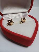 50 грн Позолочені сережки з кристалом сердечко гвоздики BG26 - (кільця, барслеты,ланцюжки, сережки,прикраси,подарунки)