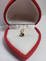 35 грн Позолочений кулон куб із чорним кристалом фианитом BG31 - (кільця, барслеты,ланцюжки, сережки,прикраси,подарунки)