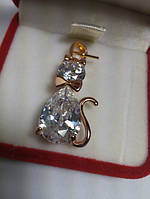 75 грн Позолочений кулон кришталева кішка фіаніт BG32 - (кільця, барслеты,ланцюжки, сережки,прикраси,подарунки)