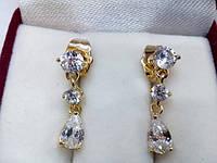 """95 грн Позолочені сережки позолота гвоздики """"ланцюжок з білих кристалів"""" BG35 - (кільця, барслеты,прикраси,подарунки)"""